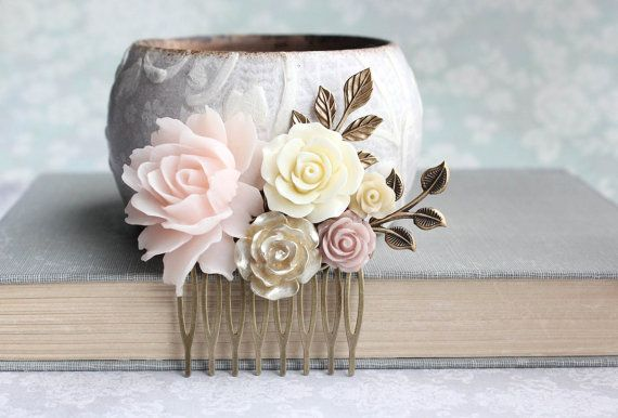 Floral+Hair+Piece+Blush+Pink+and+Gold+Wedding+by+apocketofposies
