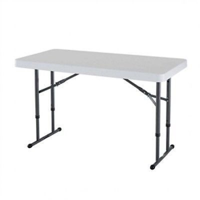 Adjustable Height 4 Foot Commercial Folding Table With White Hdpe Top This Link Is Broken Need To Find This T Folding Table Adjustable Height Table Table