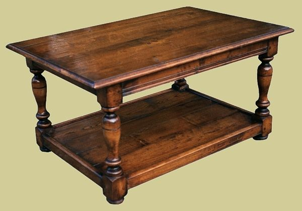 Fruitwood coffee table with potboard Oak Occassional Reproduction