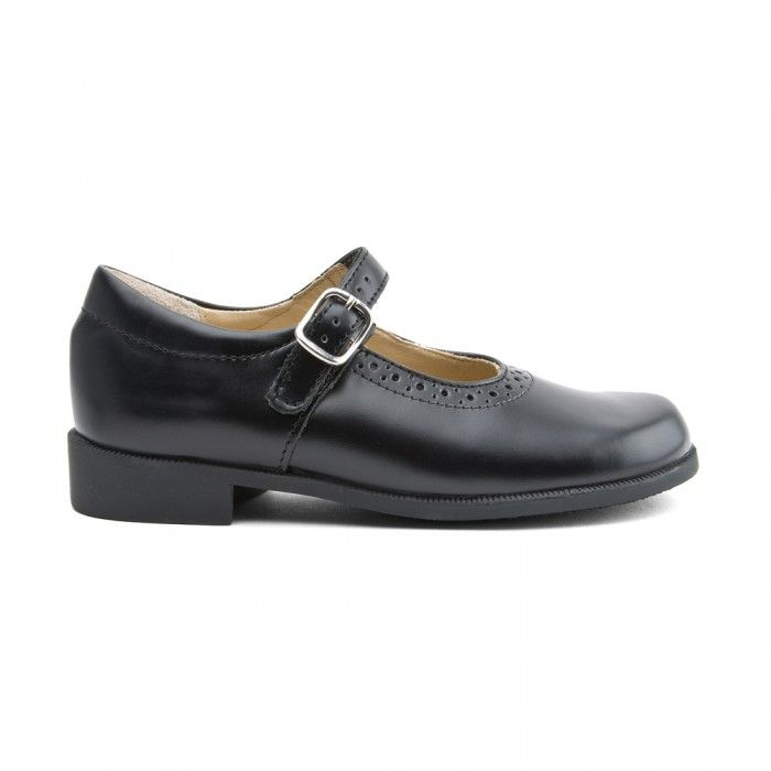 Black Leather Girls Buckle Casual Shoes