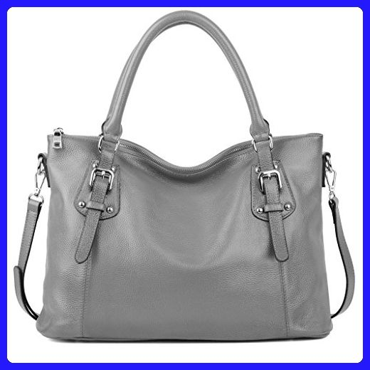 bfc69e4640 YALUXE Women s Vintage Style Soft Leather Work Tote Large Shoulder Bag  (Upgraded 2.0) Grey - Top handle bags ( Amazon Partner-Link)