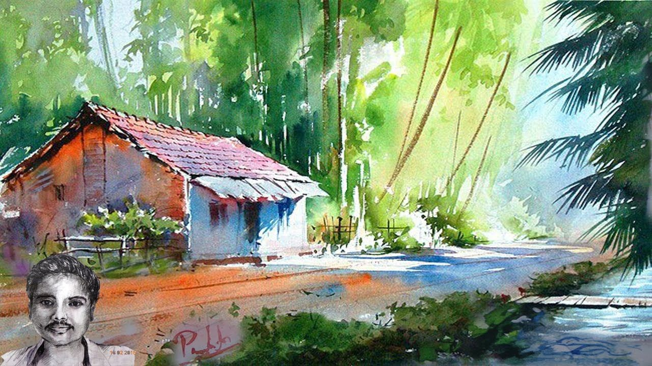 Scenery Drawing With Watercolor Painting For Beginners Watercolor Landscape Paintings Landscape Paintings Watercolor Paintings