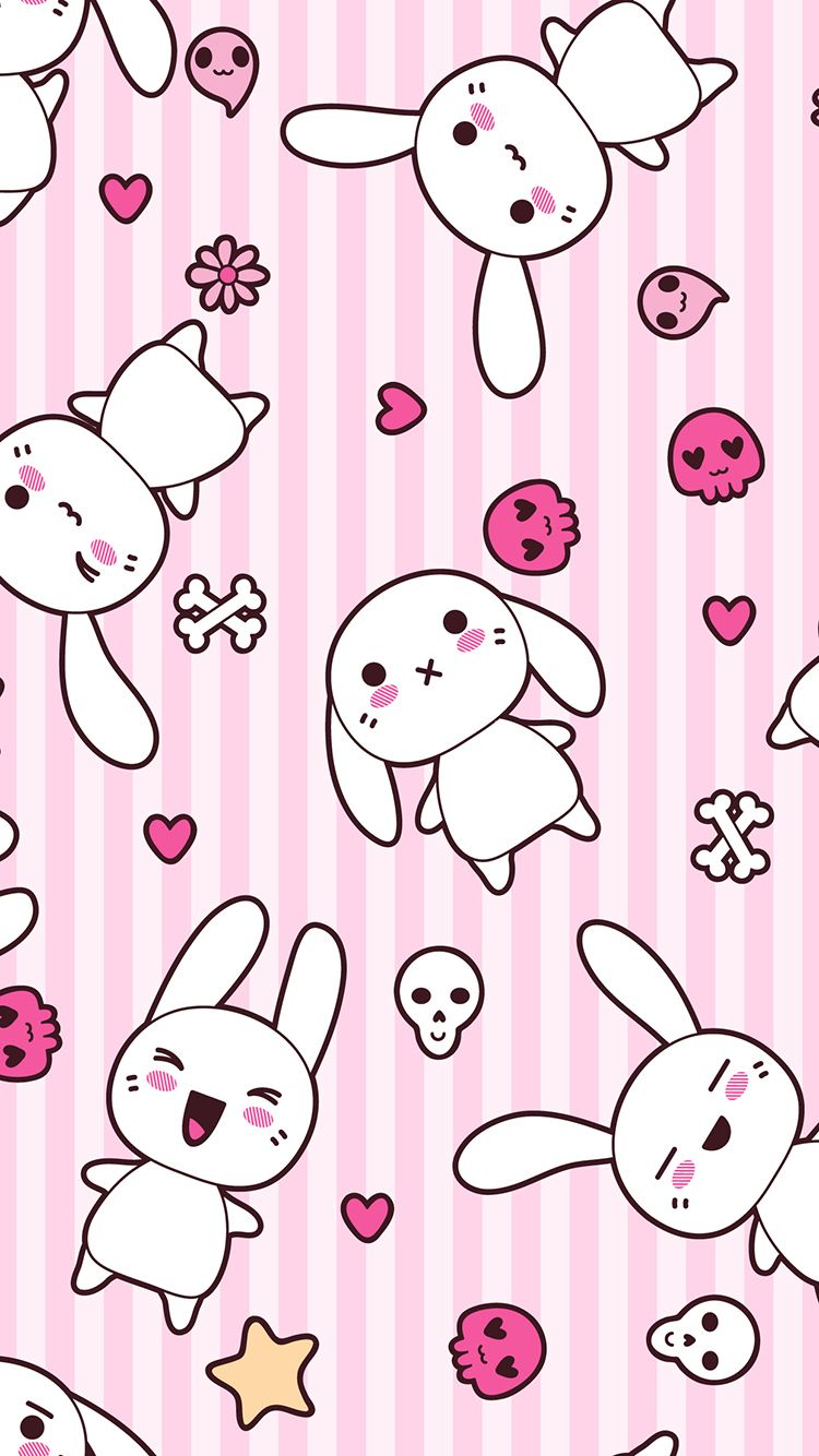 Tap and get free app cute girly anime bunnies on pink - Kawaii anime iphone wallpaper ...