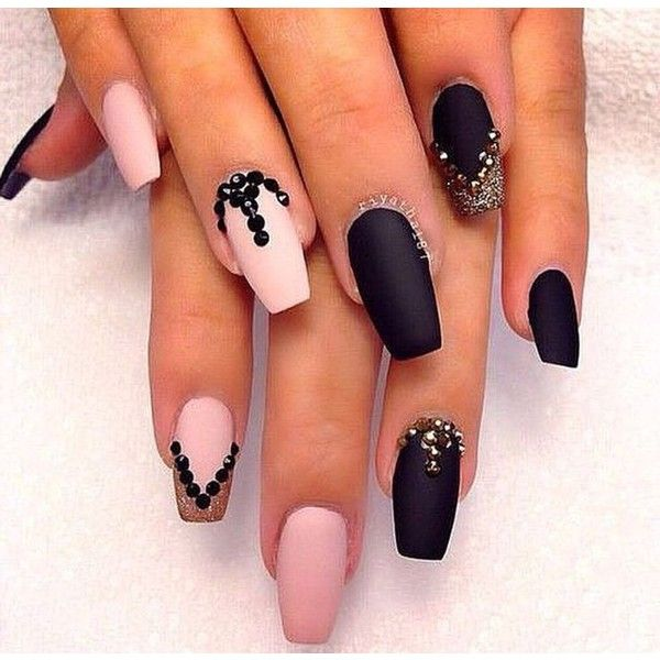 Super cute mate black and pink ballerina nails ❤ liked on Polyvore ...