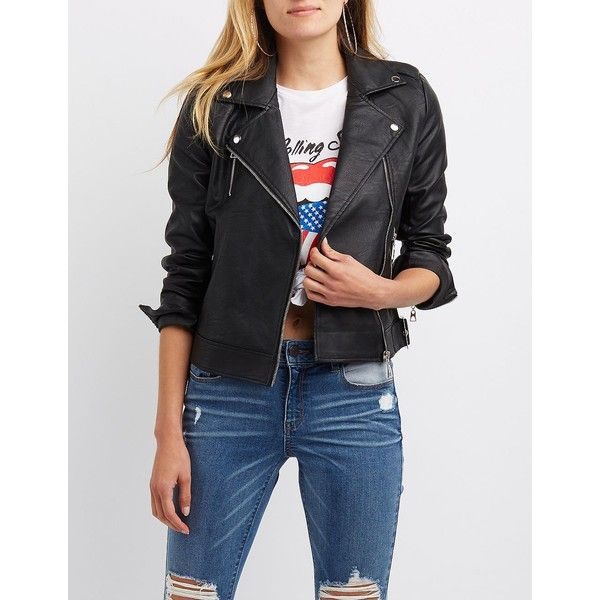 Charlotte Russe Embroidered Faux Leather Bomber Jacket ($25) ❤ liked on Polyvore featuring outerwear, jackets, black, embroidered bomber jackets, flight bomber jacket, faux-leather jacket, dragon jacket and buckle jackets