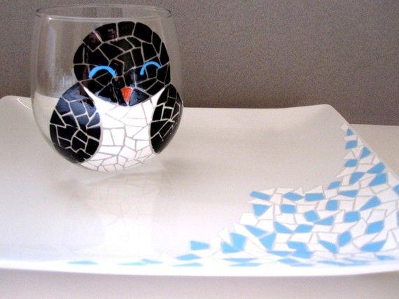 Penguin Wine Glass and Glacier Platter Set by SwirlyGarden on Etsy, $60.00