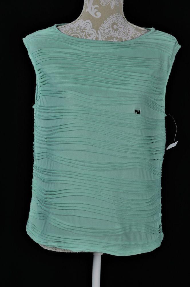 Tanjay Womens Petite Medium PM Teal Blue Ruffle Tank Top Sleeveless NEW #Tanjay #TankCami #Casual