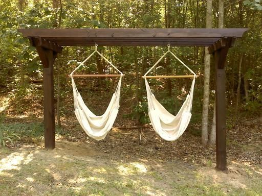 Image Of Double Hammock Chair Stands 300x225 Hammock Chair Stand Diy Diy Hammock Chair Backyard Hammock