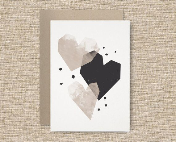 Geometric Hearts - Valentine's Day Card + Envelope- 5x7 Digital Print on Recycled Paper. Romantic Art / Blank Card / Watercolor / Couple op Etsy, 4,11 €