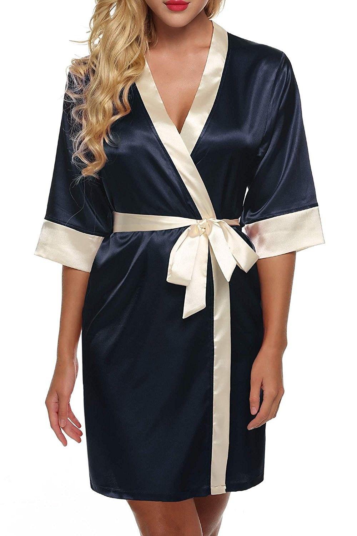 Women s Kimono Robe Short Satin Pure Color Bathrobe V-Neck Sleepwear - Navy  Blue - CU186G2UC62 36d9c6849