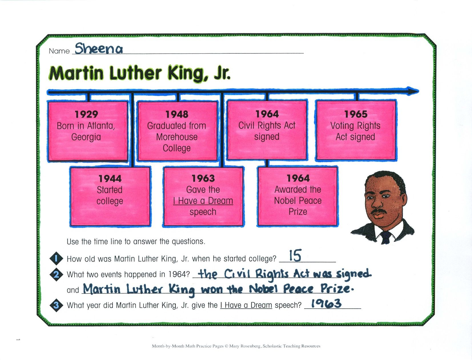 Kids Study A Timeline That Features The Life Of Martin