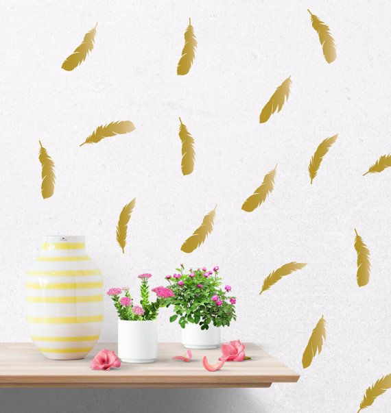 Gold Feather Decals Gold Wall Decal Gold Wall Stickers Feather - Wall decals gold