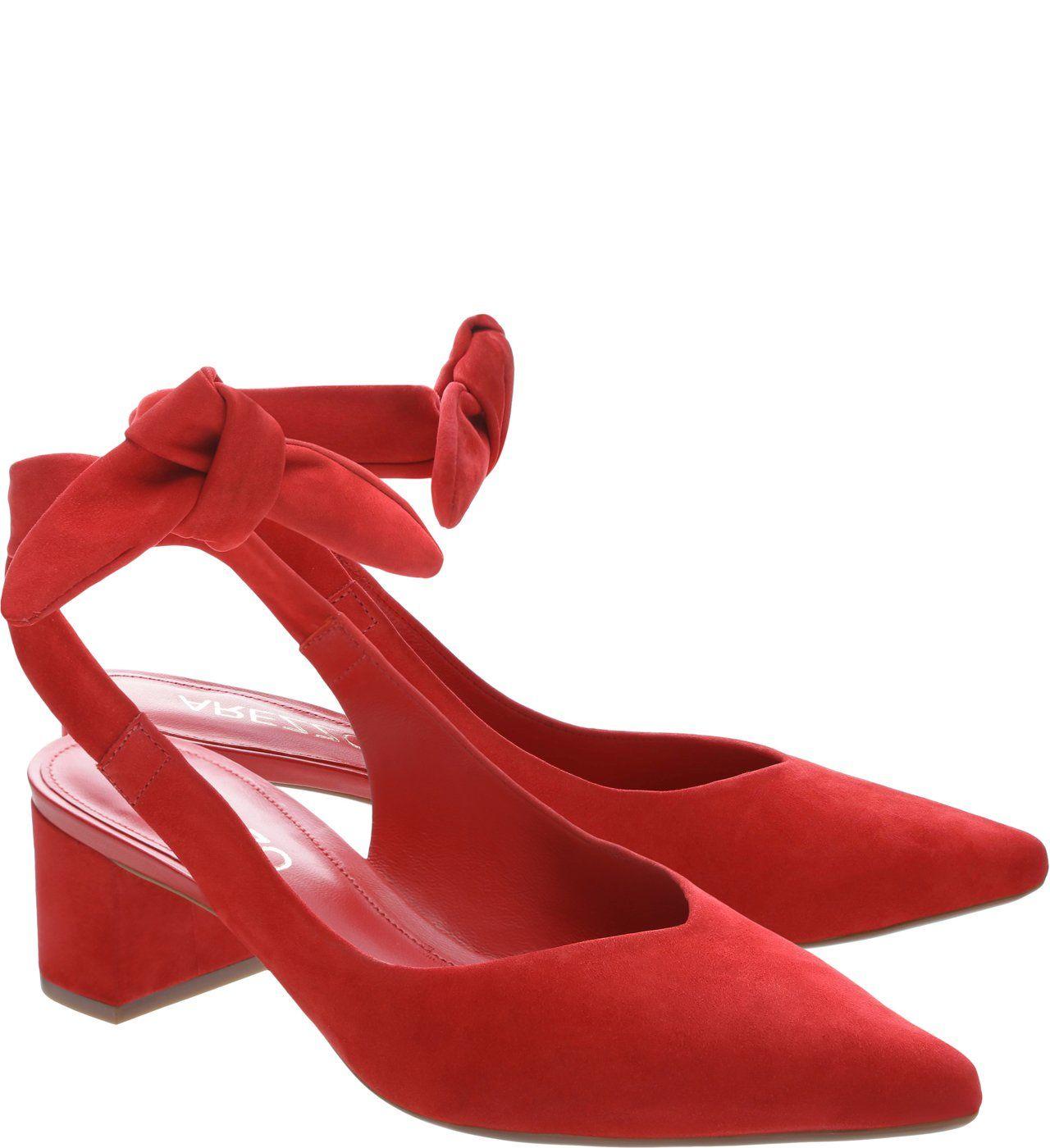 ee3d33b3f Scarpin Nobuck Nina Salto Bloco Baixo Vermelho | sapatos | Saltos ...