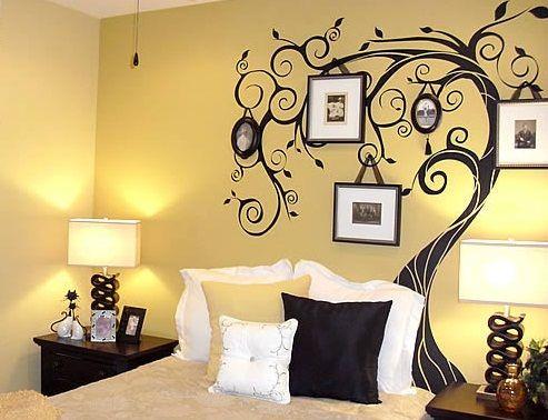bedroom wall decorating ideas sticker tree family photos | Household ...