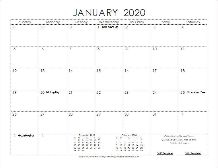 Printable Monthly 2020 Calendar Monthly Calendar Printable