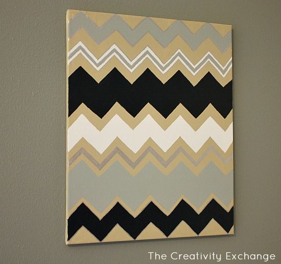 DIY Multi Colored Chevron Wall Art With Free Printable Templates