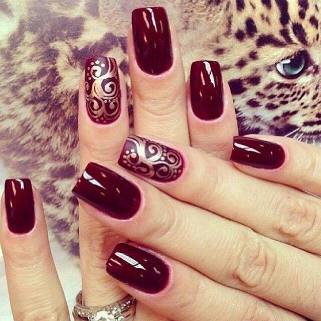 Merlot gold scroll nail art | uñas | Pinterest | Arte de uñas y Arte