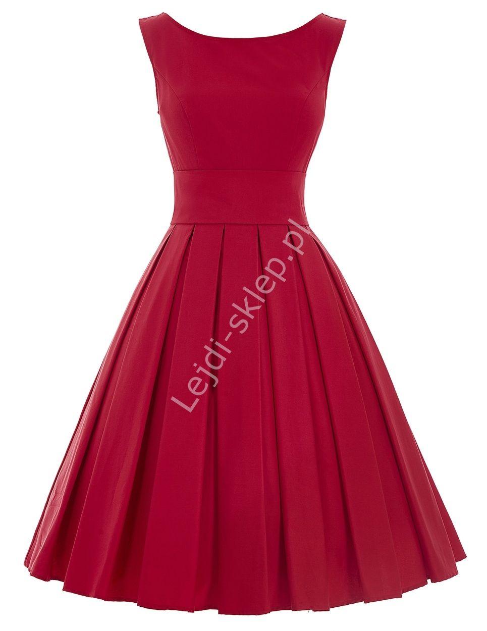 Czerwona Wizytowa Sukienka Z Plisowanym Dołem Czerwone Sukienki