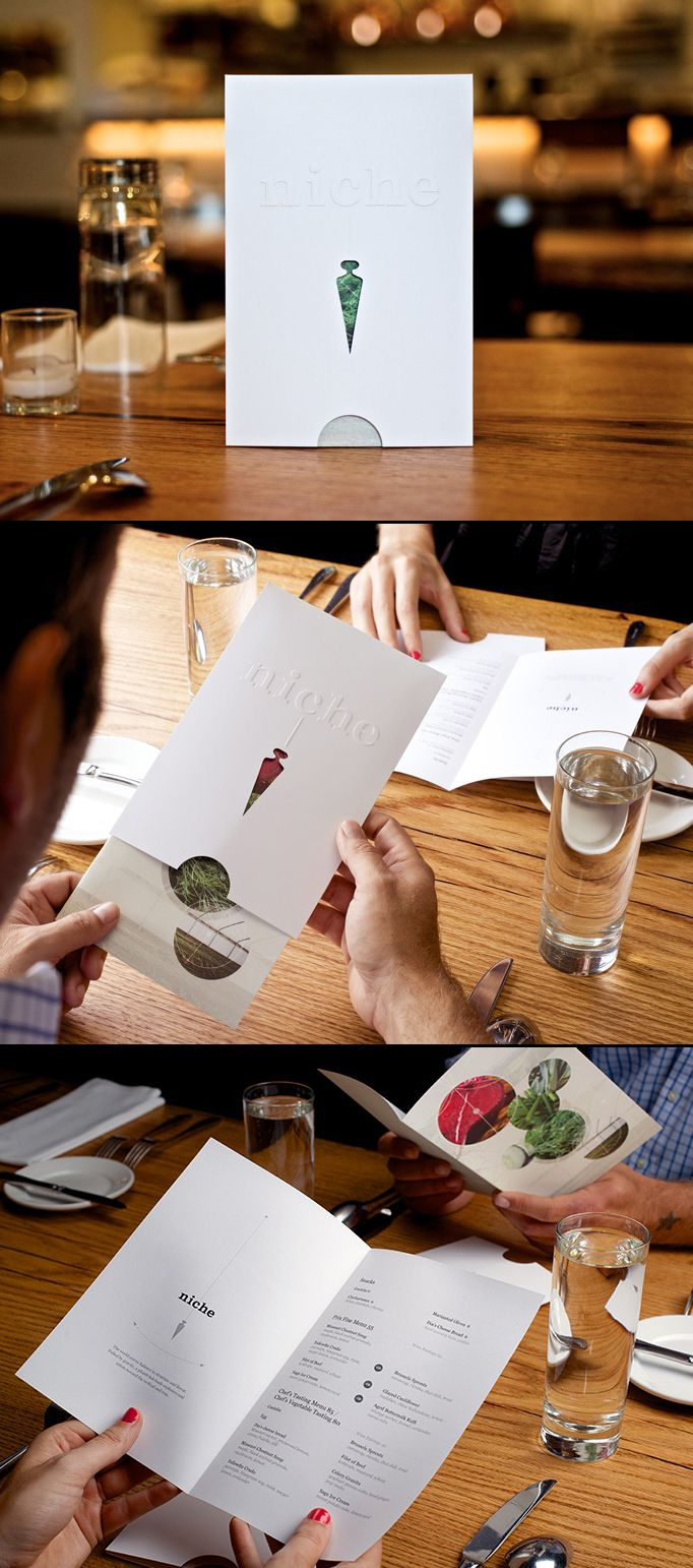 Great new idea for a menu design. I would urge future restaurants to consider this approach and instead, use a synthetic paper for the cover sleeve. This would give protection from staining or damage to the bi-fold menu inside, without having to print on high quality paper for the bi-fold menu itself. Designed by Atomicdust: http://www.atomicdust.com/ #designisvital http://www.paliosdesign.com