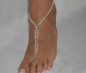 Beautiful pair of Barefoot Sandals in Ivory Pearl and Rhinestones  (I want some soo BAD!!!)