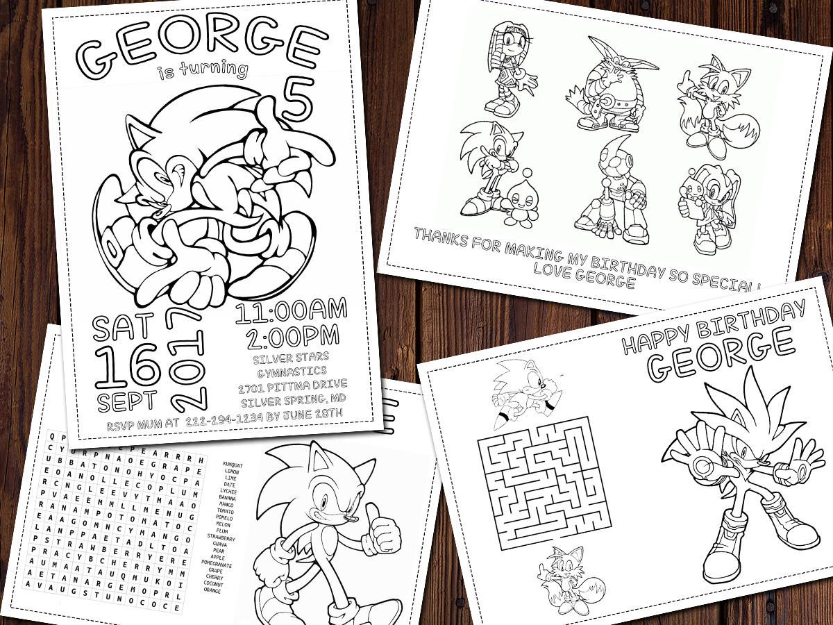 Sonic Coloring Pages Sonic The Hedgehog Birthday Amy Rose Party Favor Activity Coloring Sheets 4 Printa Hedgehog Birthday Rose Party Printable Personalized