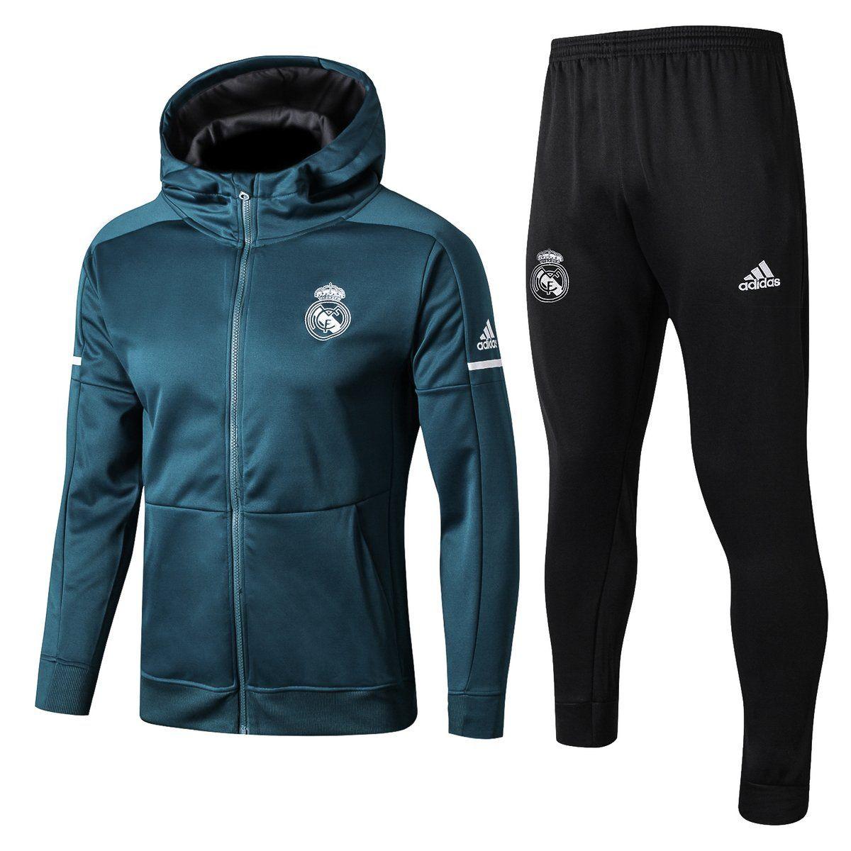 152e99695aec7 Real Madrid 2017 18 Black Men Jacket Tracksuit Slim Fit