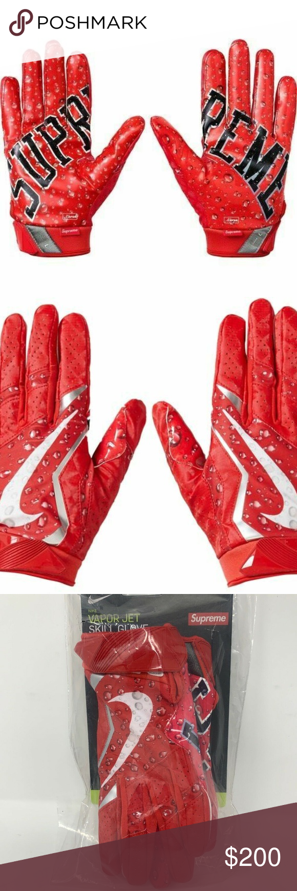 Supreme Nike Vapor Jet 4 0 Red Football Gloves Black And Red Clothes Design Fashion Tips