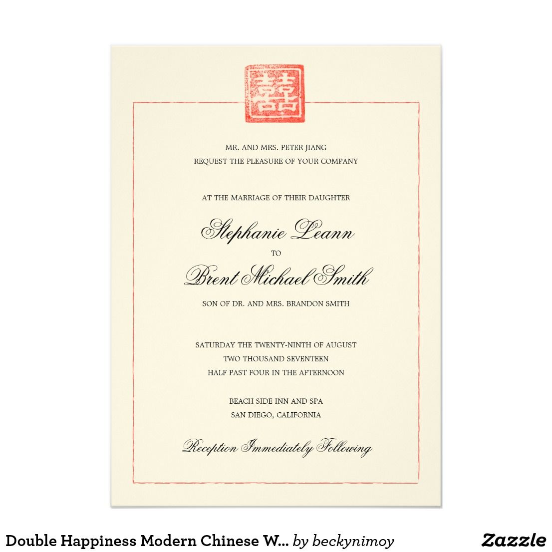 Double happiness modern chinese wedding invitation chinese wedding double happiness modern chinese wedding invitation stopboris Gallery