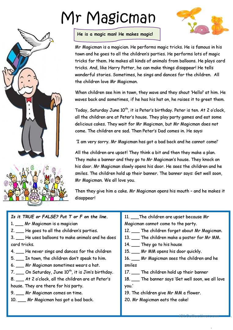 Mr Magicman He Is Special Worksheet Free Esl Printable Workshee Reading Comprehension Texts Reading Comprehension Activities Reading Comprehension Lessons [ 1079 x 763 Pixel ]