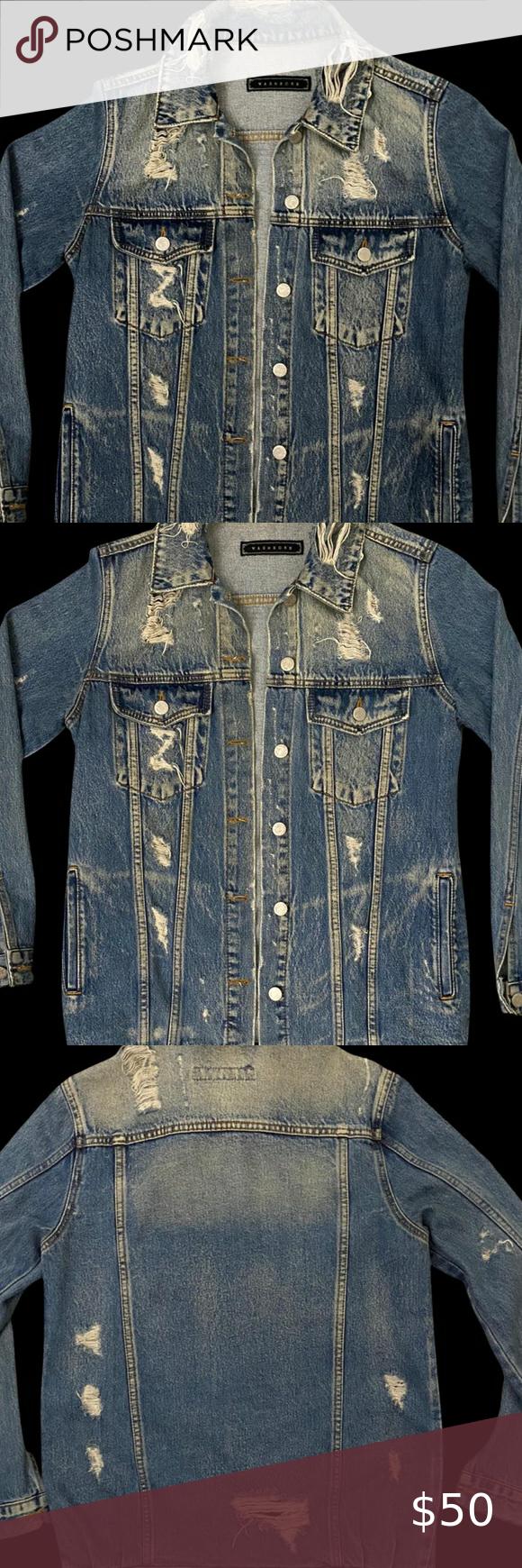 Washborn Denim Jacket Denim Jacket Urban Outfitters Jacket Embroidered Denim Jacket [ 1740 x 580 Pixel ]