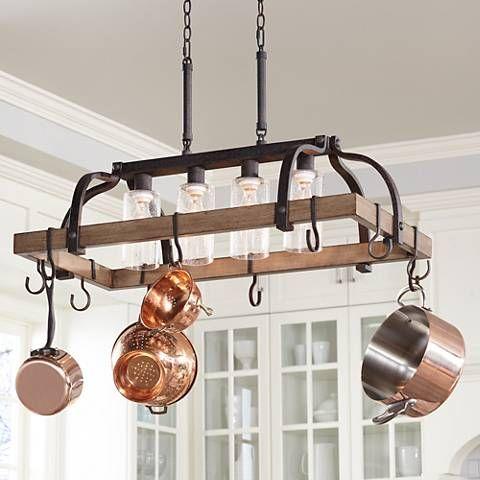 Eldrige 36 1/2″ Wide 4-Light Bronze Pot Rack Chandelier – #1G905 | Lamps Plus