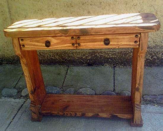 Muebles rusticos mesa de arrimo for Reparacion de muebles de madera