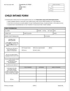 child docx forms for pediatric private practice in speech therapy private practice speech. Black Bedroom Furniture Sets. Home Design Ideas