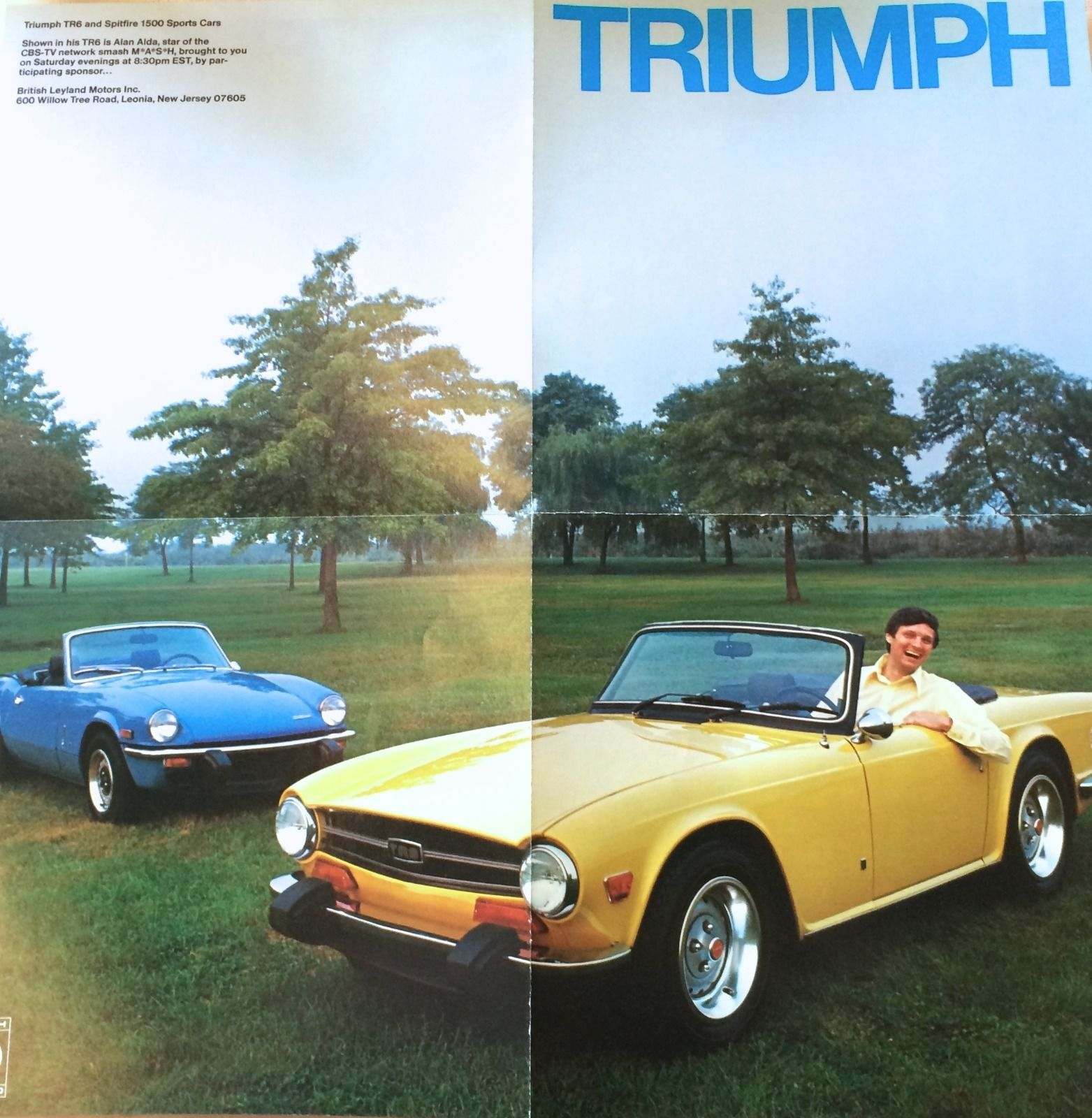 Vintage triumph tr6 and spitfire ad from 1974 with alan alda of m a