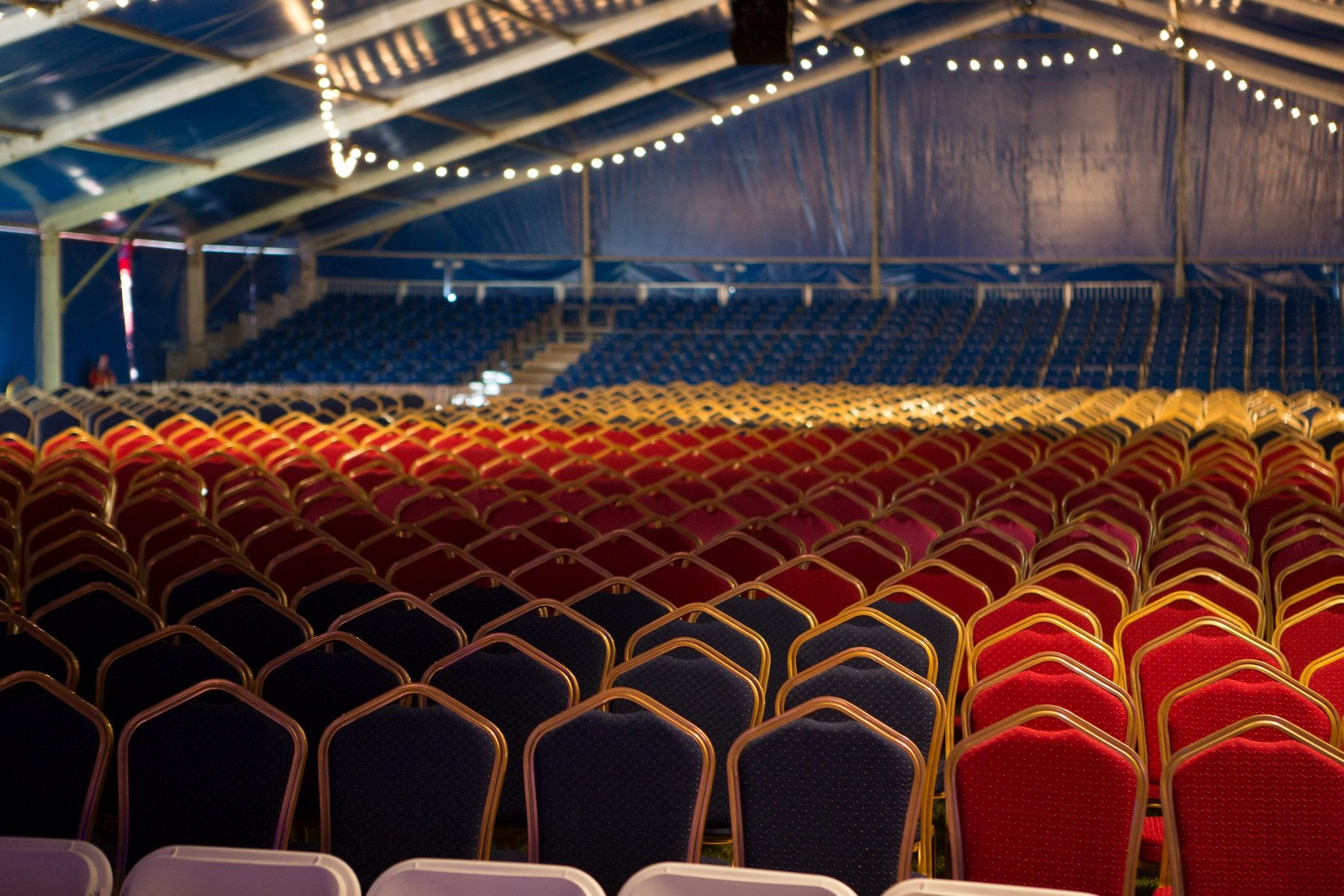 Our Emperor Banqueting Chairs in red and blue used for