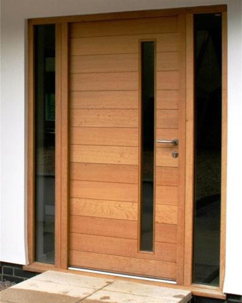 Nobu Modern Solid Mahogany Wood Horizontal Planks Entry Door With Vertical Glass In 2020 Home Door Design Garage Door Design Modern Front Door