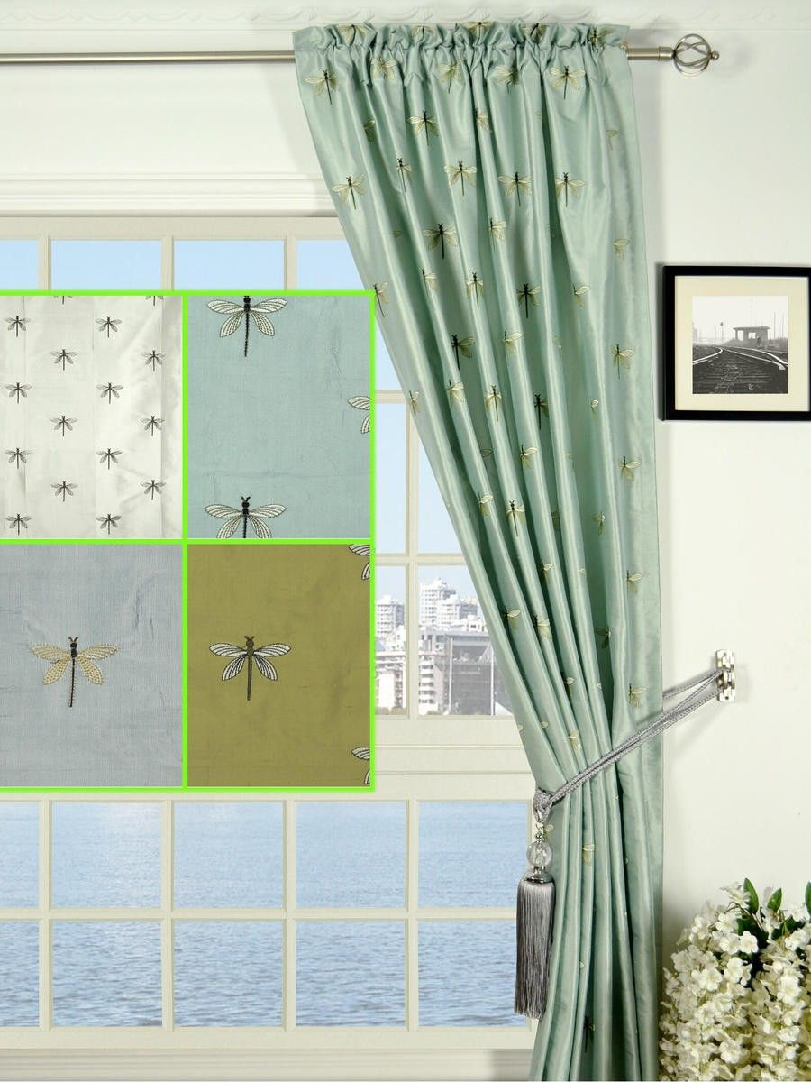 Halo Embroidered Dragonflies Rod Pocket Dupioni Silk Curtains   Custom  Curtains Drapes Draperies Sheers Rods And