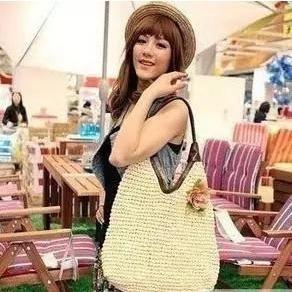 cool Straw Floral Applique Shopper Bag