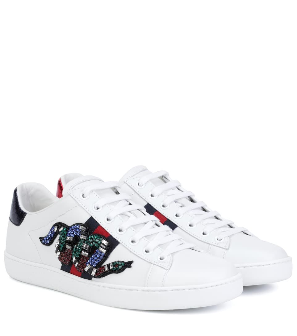GUCCI   Ace Leather Sneakers - Bianco