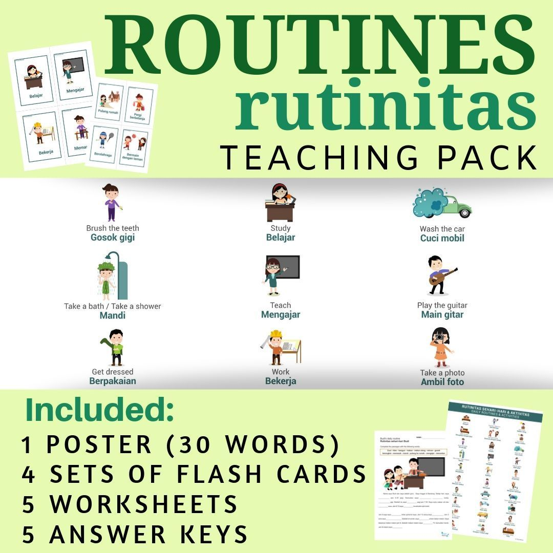 Indonesian Daily Routines No Prep Packet Poster Flash