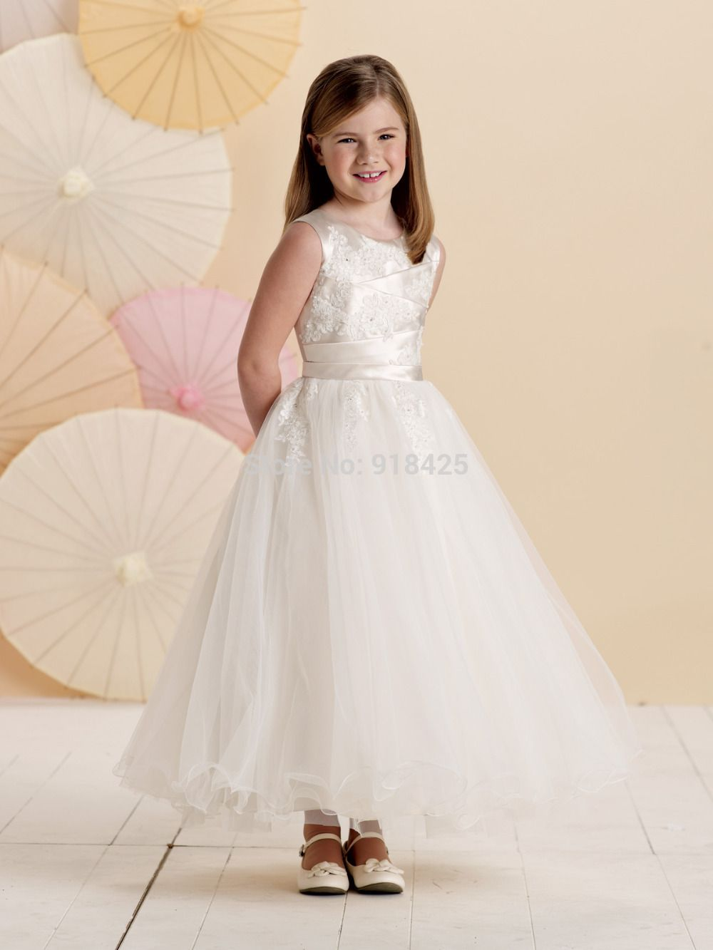 Click to buy ucuc ankle length organza flower girl dresses a line