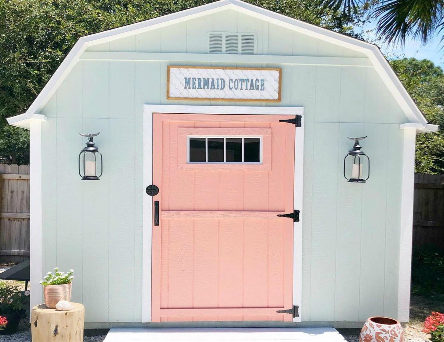 Pastel Pink Shed Painted Garden Sheds Shed Exterior Ideas Shed Paint Colours