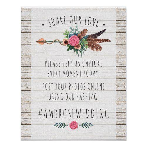 Wedding Hairstyle Hashtags: Rustic Bohemian Arrow Wedding Hashtag Photos Sign