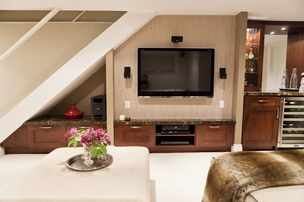 Tv Under The Stairs Like It Small Basement Design Basement