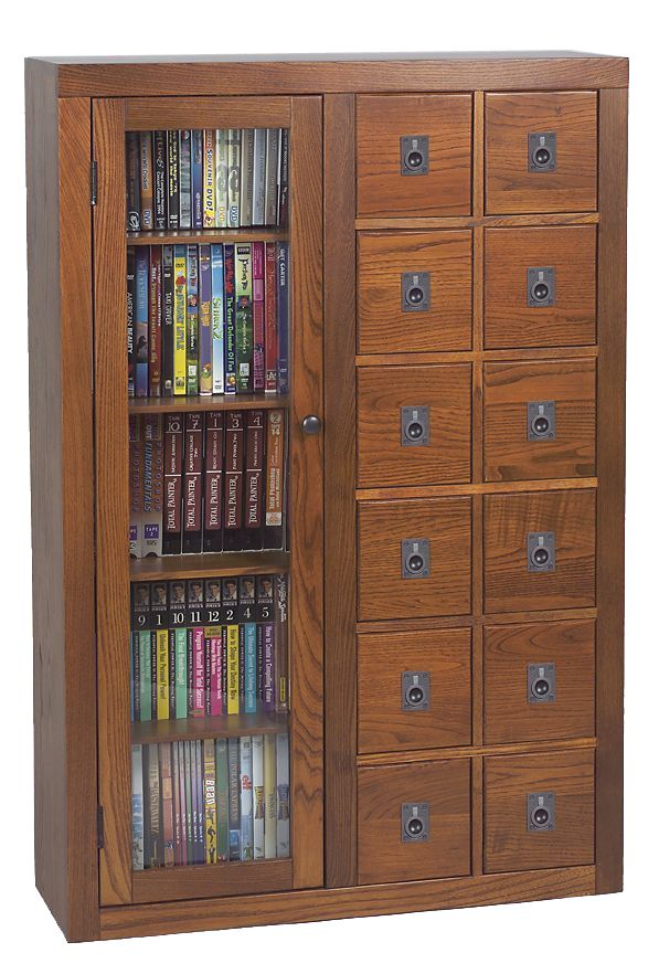 Blu Raydvdcd Storage Apothecary Cabinet With Glass Door In