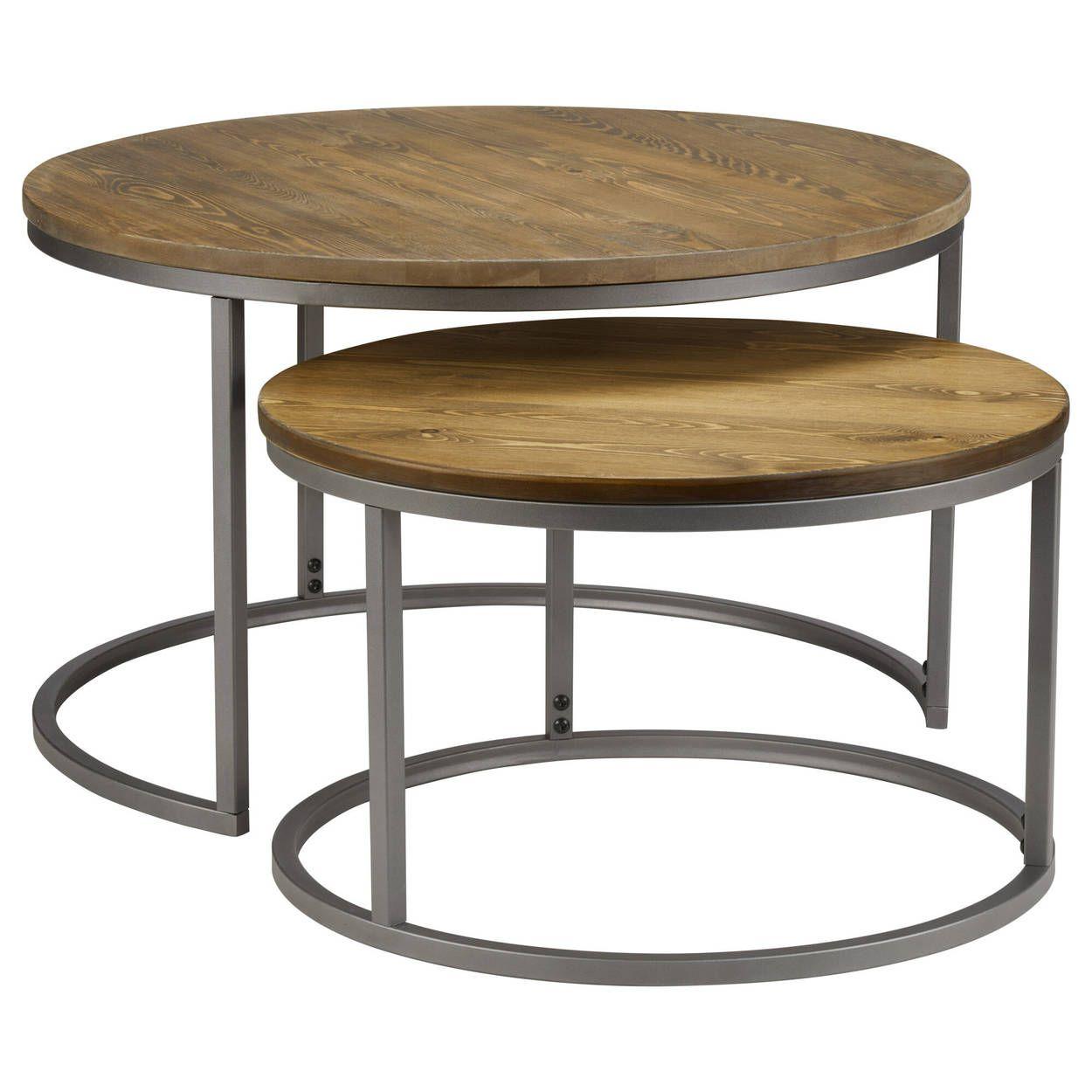 Set Of 2 Pine Wood Coffee Tables With Metal Legs Coffee Table Wood Coffee Table Metal Coffee Table [ 1250 x 1250 Pixel ]