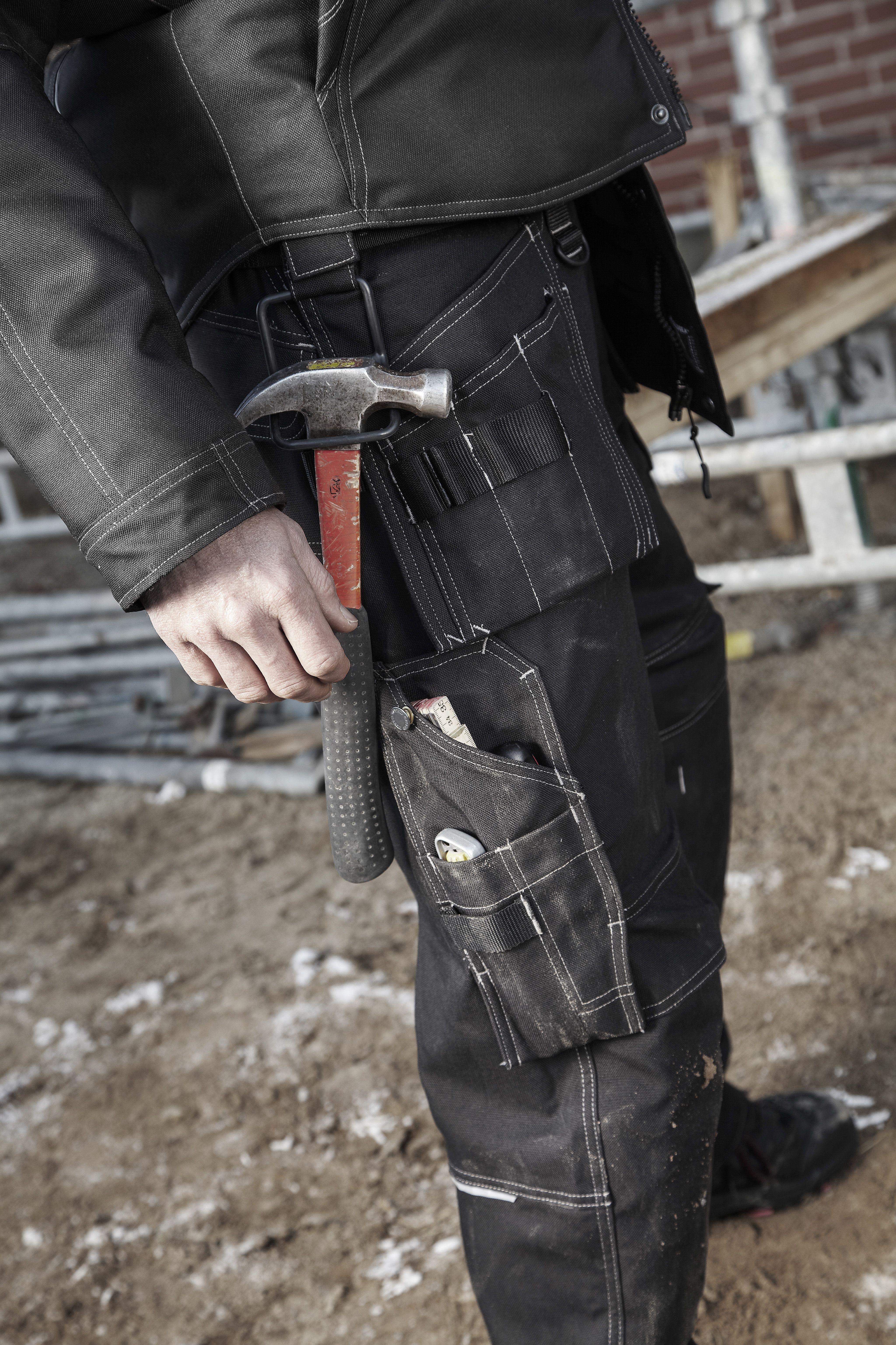 JCB Workwear Trade Plus Rip Stop Men Work Trousers Pants Tool Pockets Black Grey