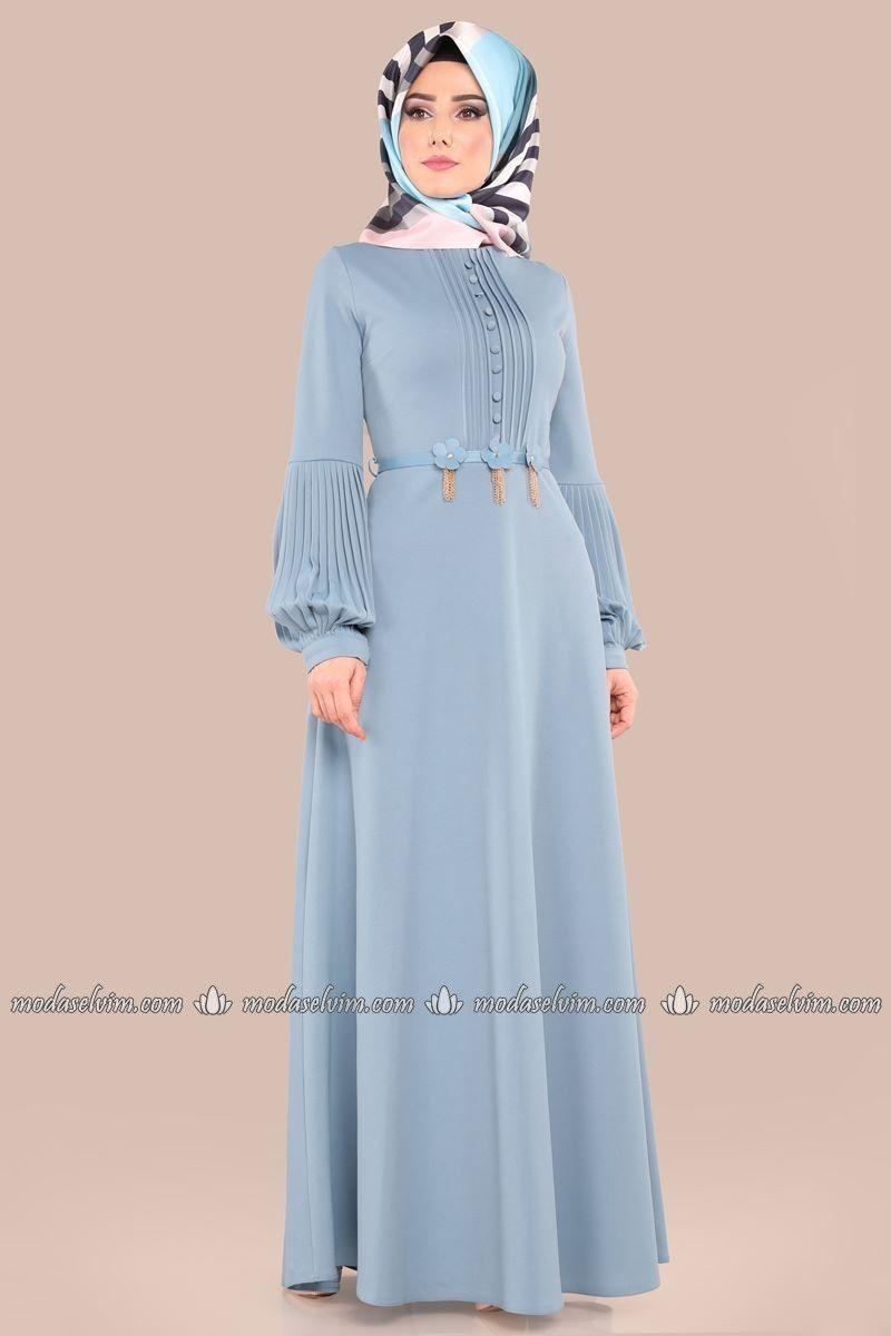 Onden Dugmeli Kemerli Elbise Lrj521 Bebe Mavisi Elbise Islami Giyim Uzun Elbise