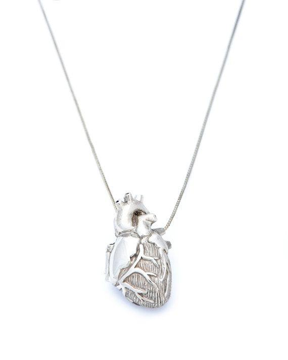 White Bronze Anatomical Heart Locket by PeggySkempJewelry on Etsy, $200.00