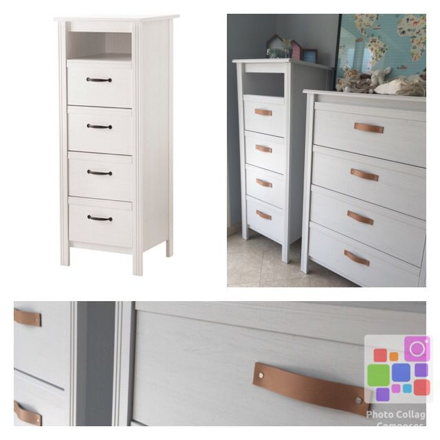 Commode Ikea Brusali Poignee Cuir Home Bedroom Locker Storage Home